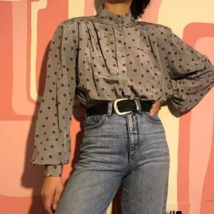 JH Collectibles Patterned Balloon Sleeve Blouse